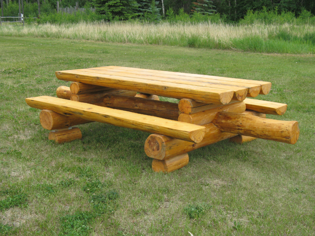rustic wood picnic tables higher ground log furnishings. Black Bedroom Furniture Sets. Home Design Ideas