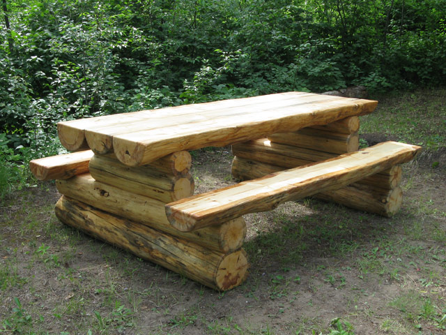 rustic wood picnic tables | Higher Ground Log Furnishings